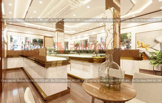 Thiết kế tiệm vàng Vũ Hùng theo phong cách Tân Cổ Điển