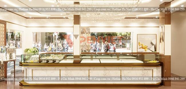 Sử dụng vật liệu cao cấp cho mẫu thiết kế nội thất tiệm vàng Vũ Hùng