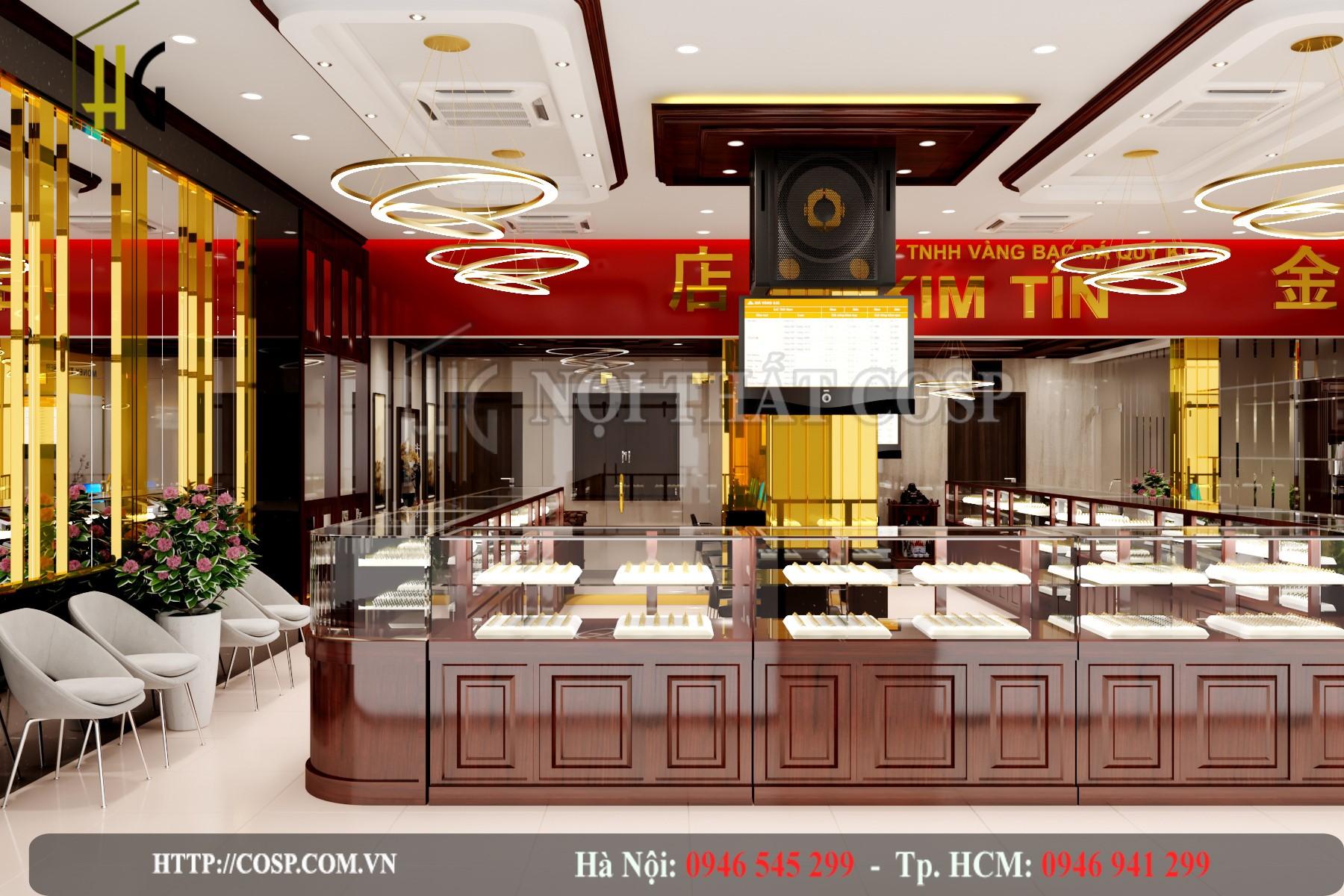Không gian sang trọng của tiệm vàng Kim Tín