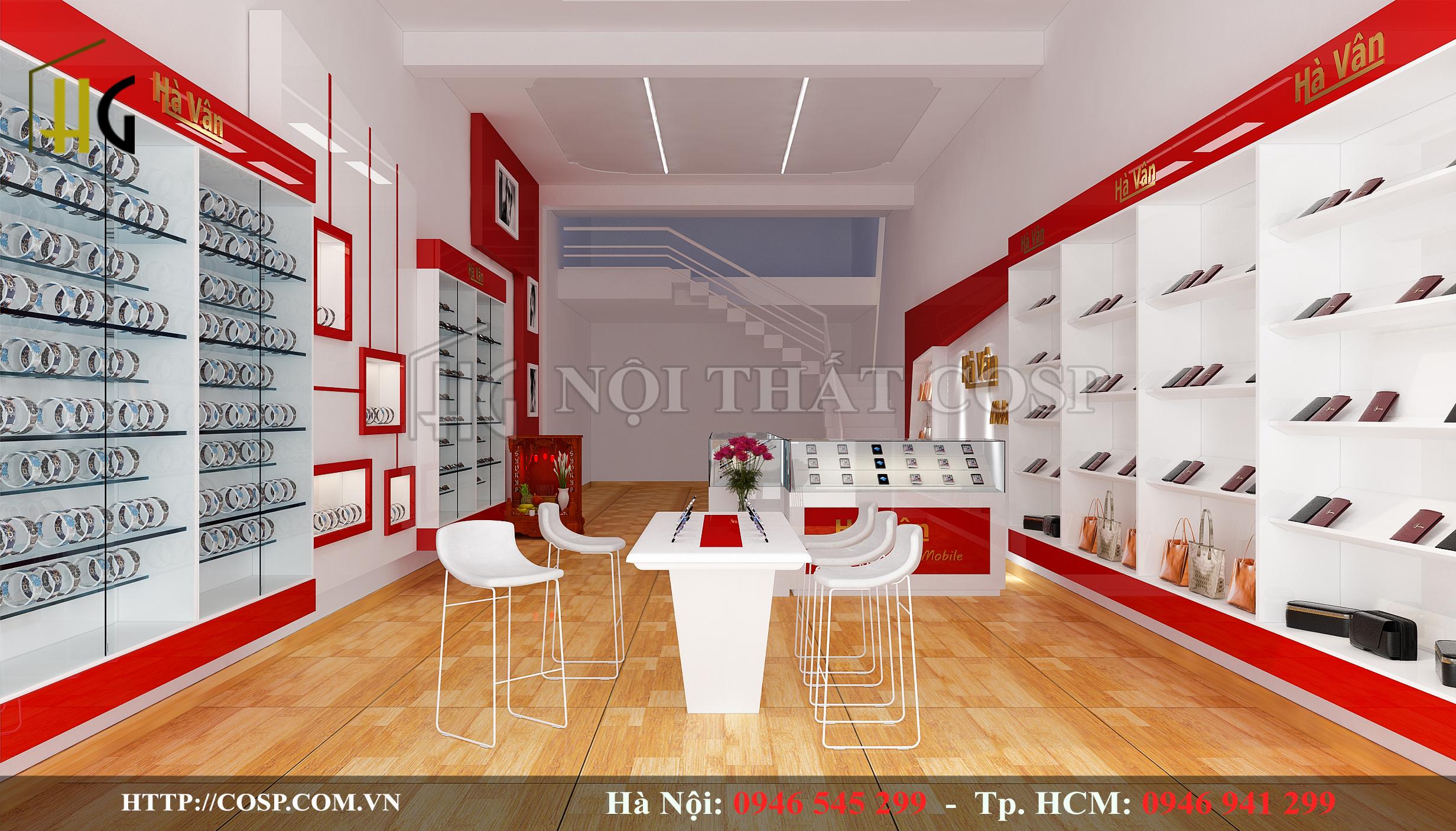 Thiết kế cửa hàng điện thoại ấn tượng với điểm nhấn không gian màu đỏ sẫm