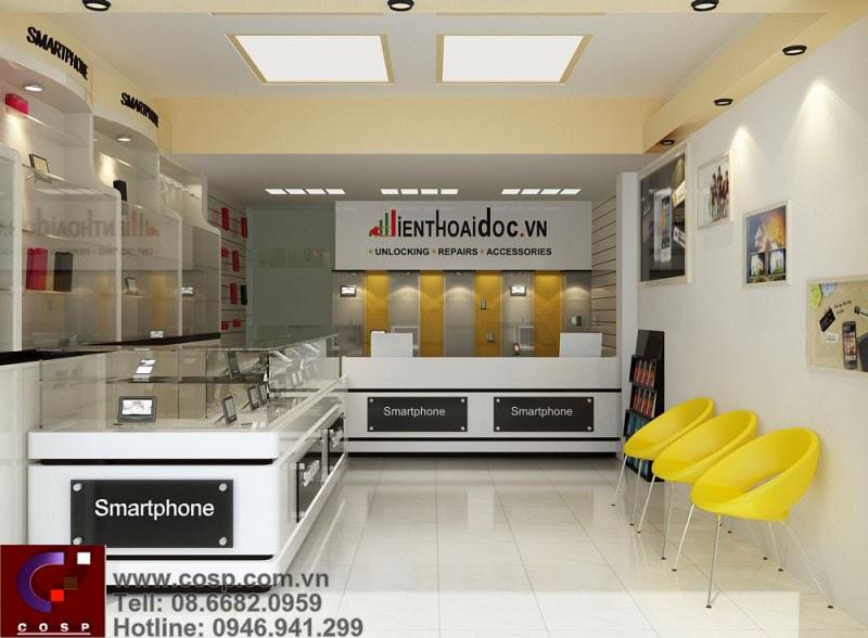 Thiết kế cửa hàng điện thoại đẹp 25m2