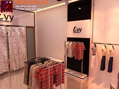 Thiết kế giá treo đồ đơn giản mang đến thiết kế cửa hàng thời trang tinh tế, hiện đại