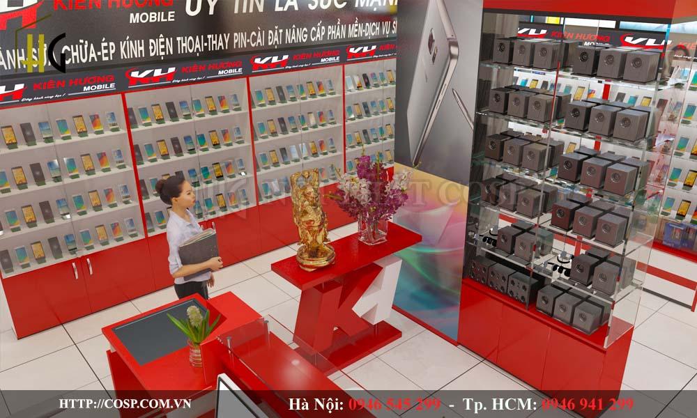 Thiết kế nội thất shop điện thoại Kiên Hương Bắc Giang