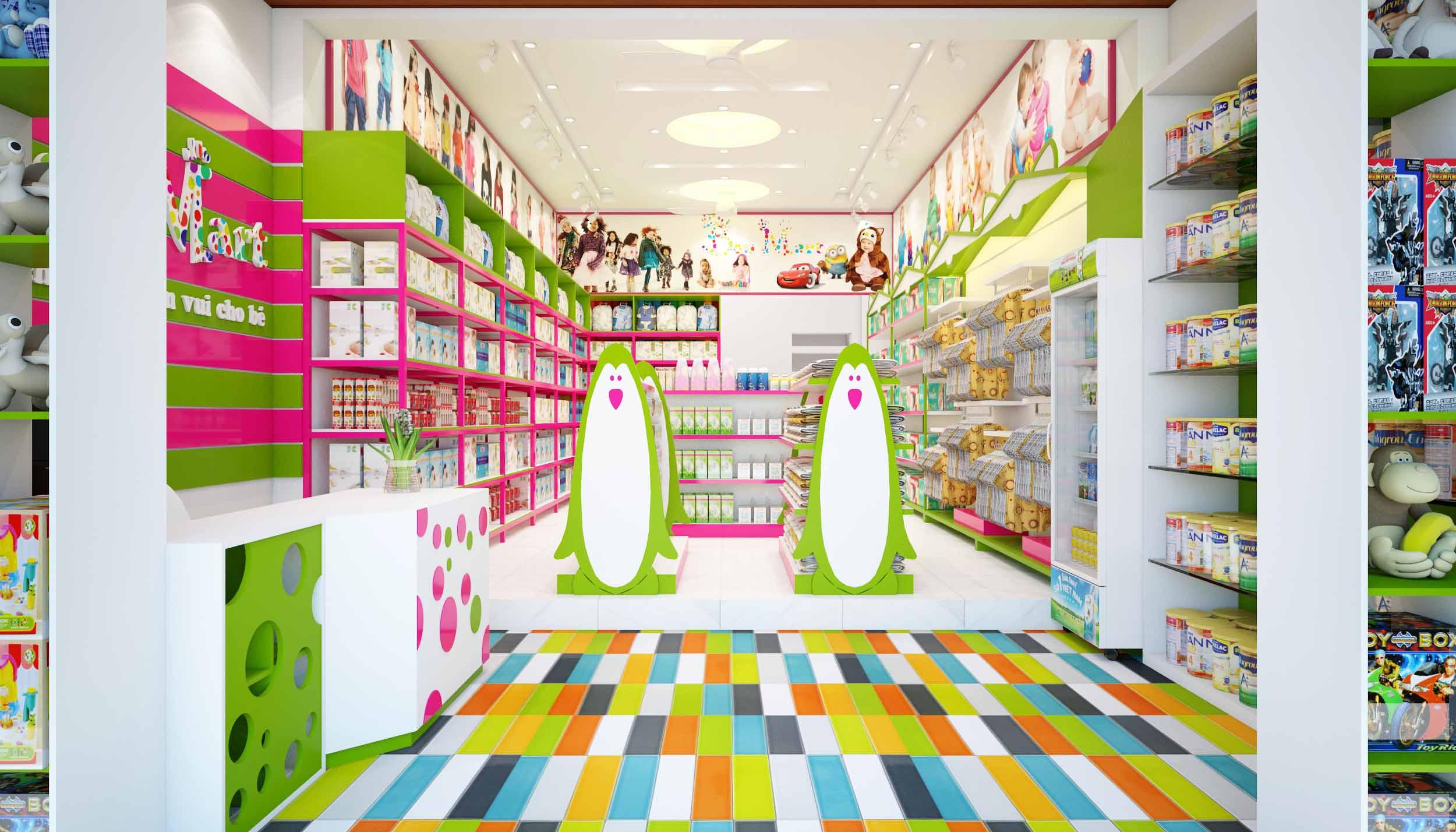 Thiết kế nội thất Shop mẹ và bé Bon Mart diện tích 50m2