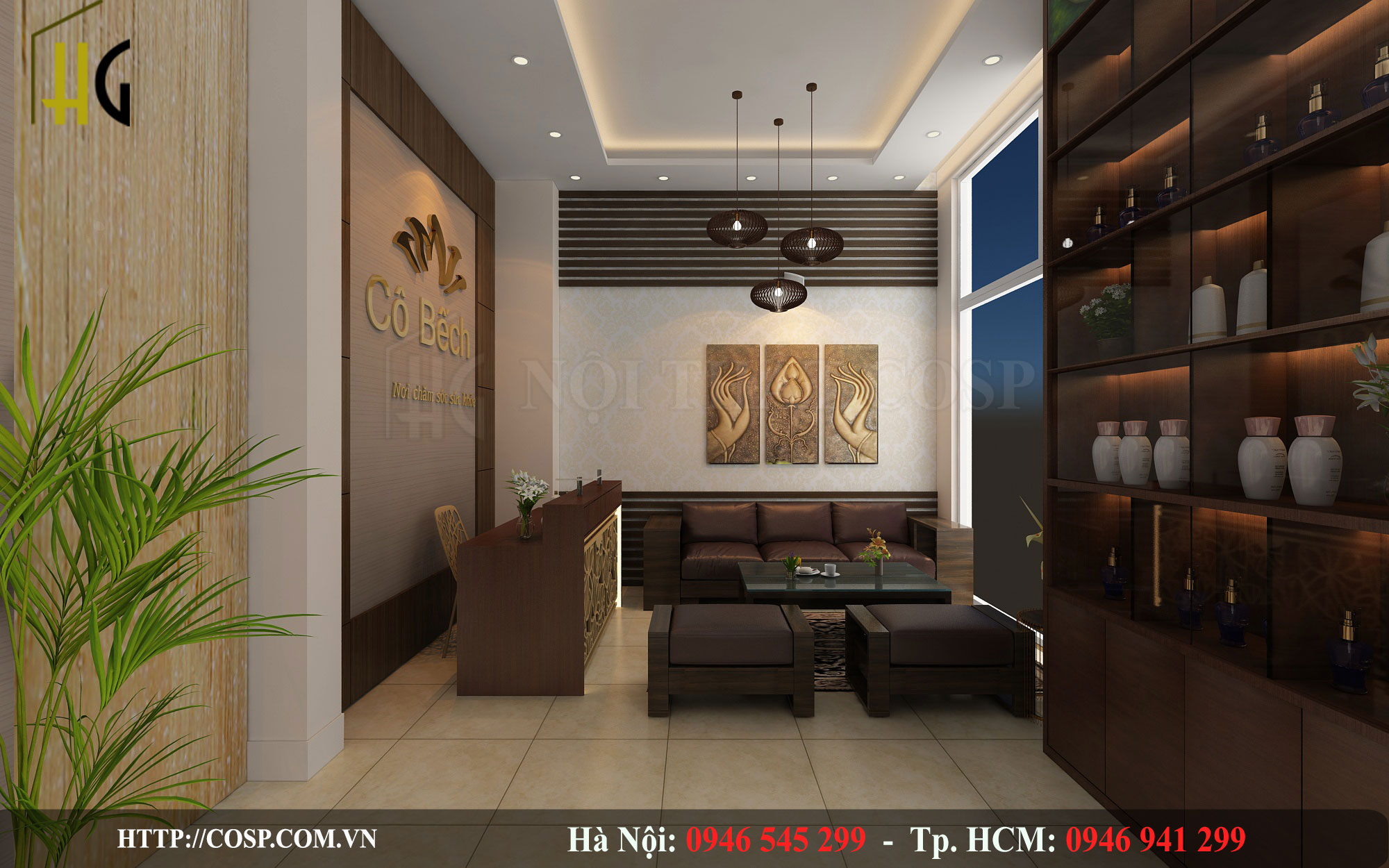 Thiết kế phòng khách spa tại Uông Bí