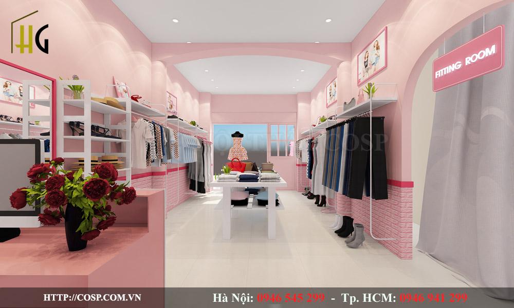Ý tưởng thiết kế shop quần áo hút mắt với màu hồng ấn tượng