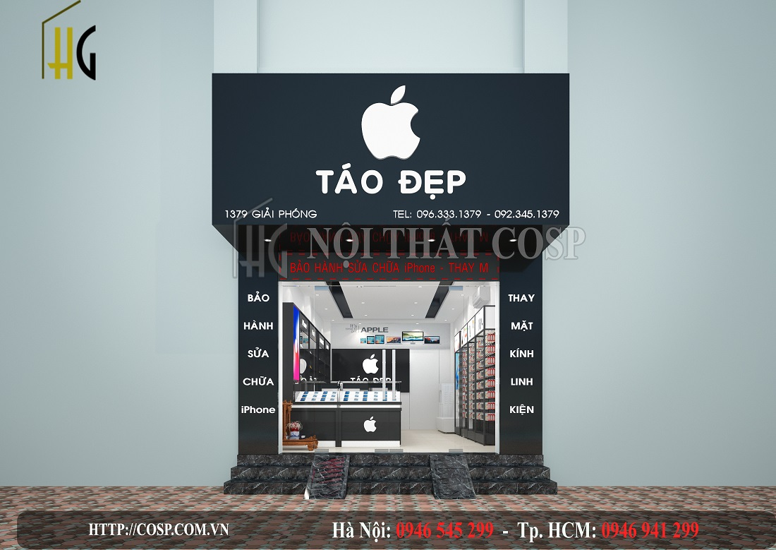 Thiết kế shop điện thoại Táo đẹp