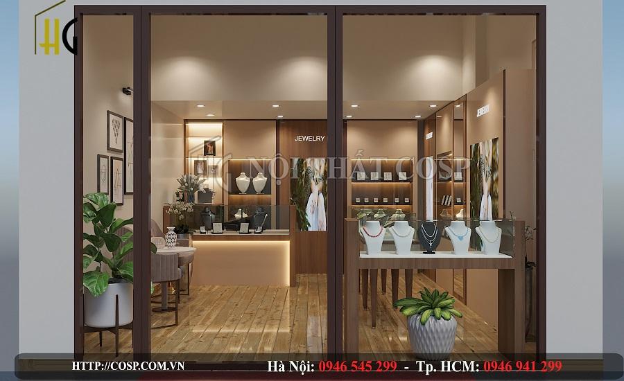 Thiết kế cửa ra vào cho cửa hàng trang sức Myan bằng kính trong suốt