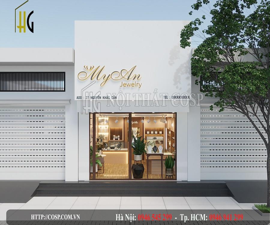 Không gian mặt tiền shop vàng bạc nữ trang Myan