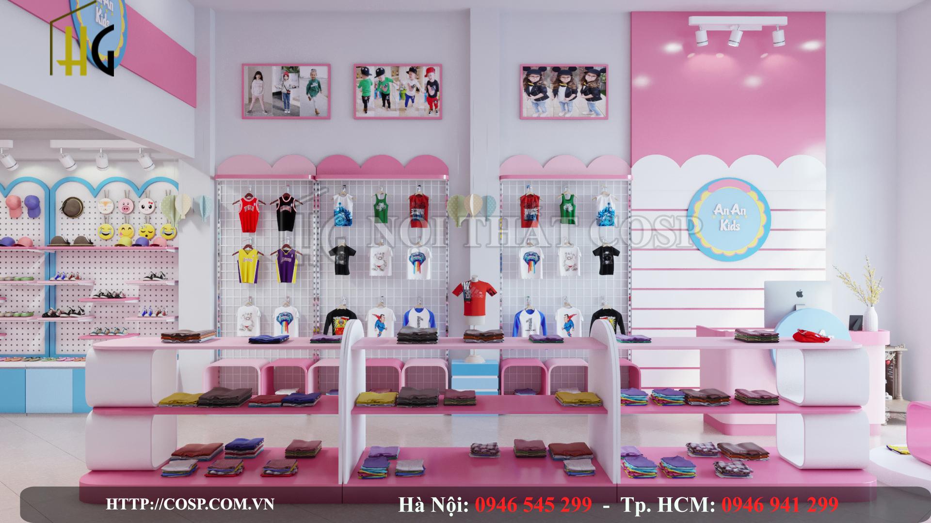 thiết kế shop thời trang mẹ bé