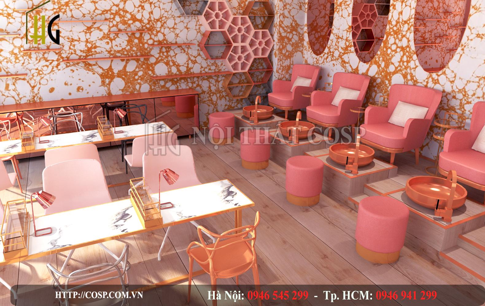 Sử dụng màu hồng với nhiều sắc độ khác nhau tạo nên thiết kế spa ấn tượng