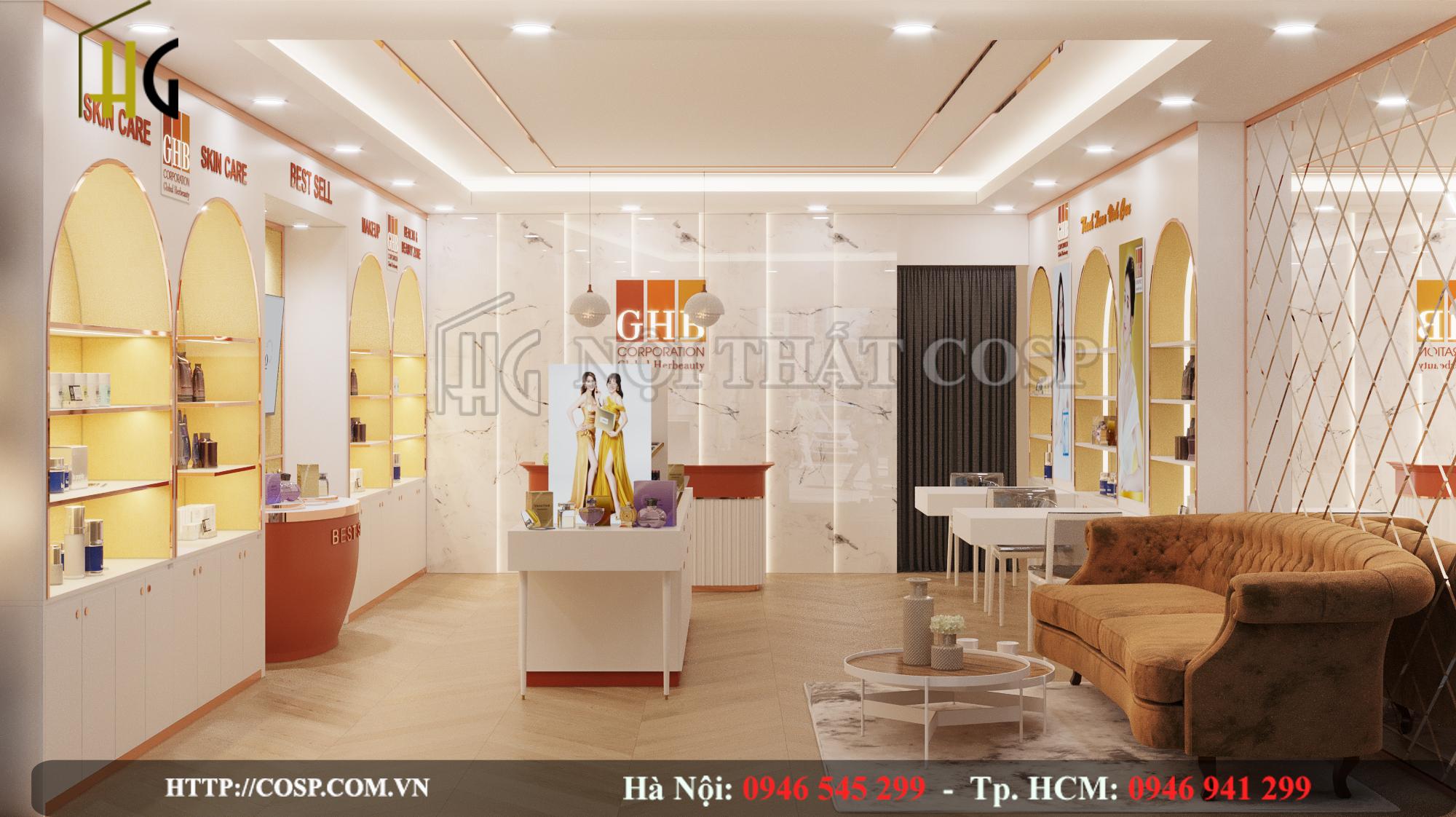 Thiết kế nội thất cửa hàng mỹ phẩm chức năng Văn Quán