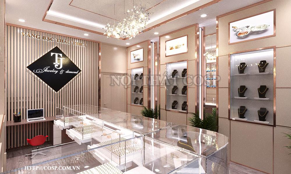 thiết kế cửa hàng vàng bạc cao cấp