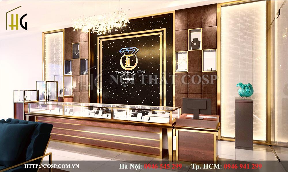 thiết kế cửa hàng vàng bạc thành liên