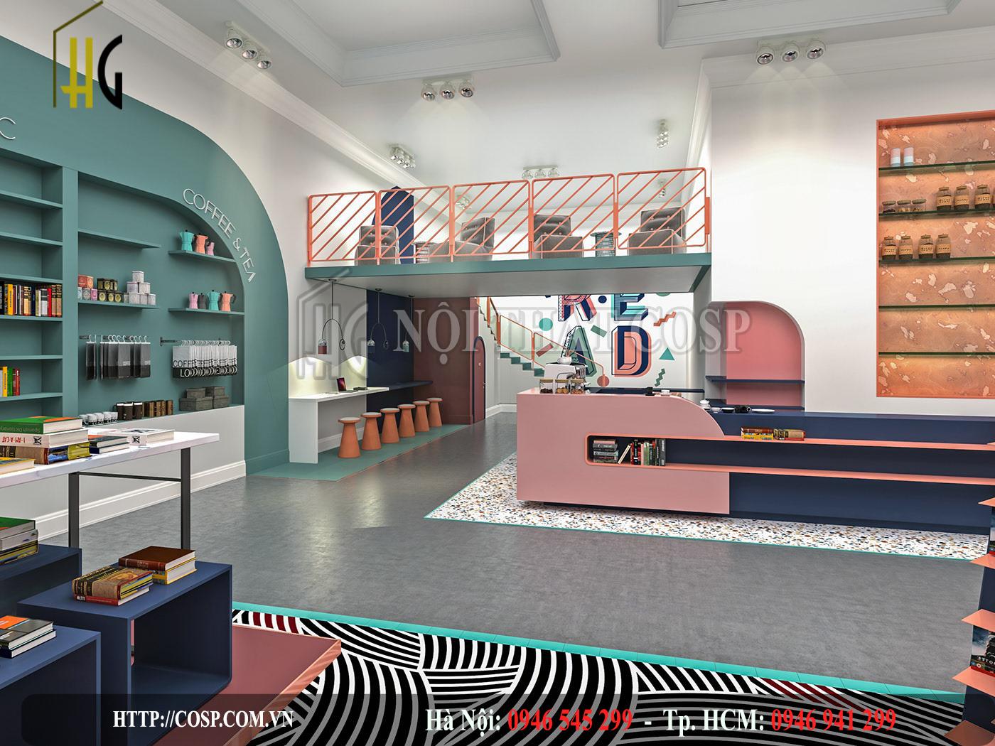 Nhà sách, cửa hàng văn phòng phẩm thu hút với thiết kế shop ấn tượng