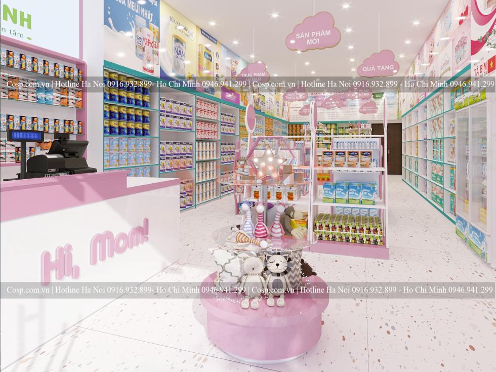 Thiết kế cửa hàng bỉm sữa Linh Anh