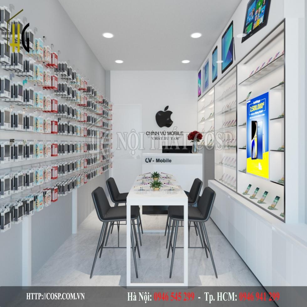 Thiết kế shop điện thoại nhỏ 10m2 CHính Vũ- Anh Long