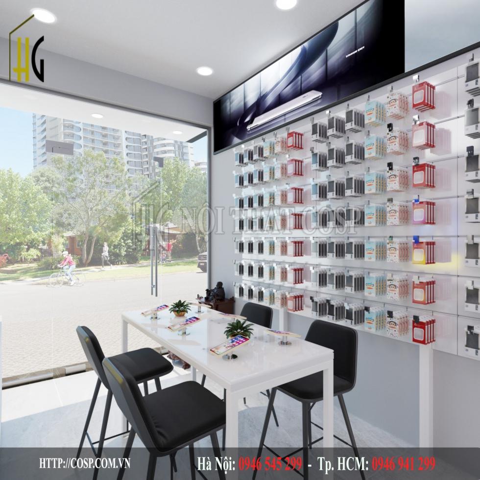 Thiết kế shop điện thoại do Nội thất Penviet thực hiện