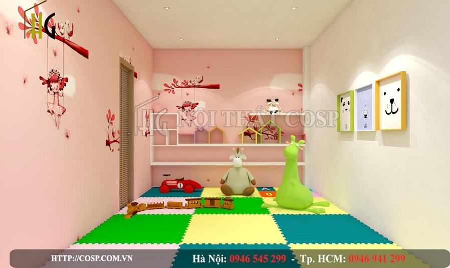 Xốp lót sàn vừa cách âm tốt, vừa giúp đảm bảo vệ sinh cho khu vui chơi của bé
