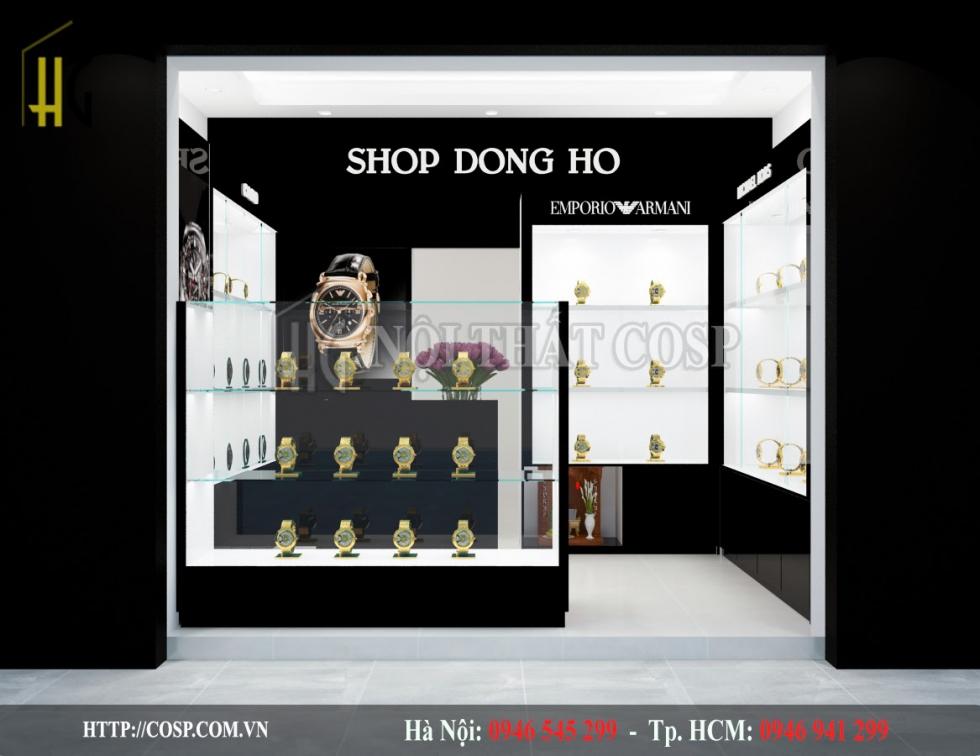 Thiết Kế Nội Thất Shop Đồng Hồ với tông màu đen