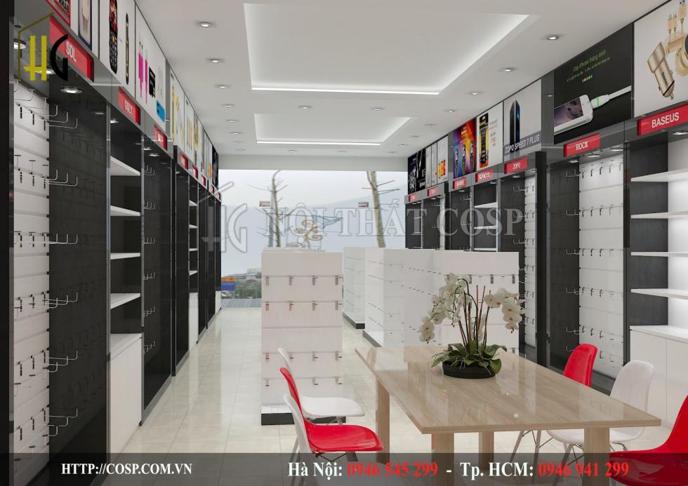 Thiết kế shop phụ kiện điện thoại tạo hiệu ứng thị giác với những gam màu tương phản