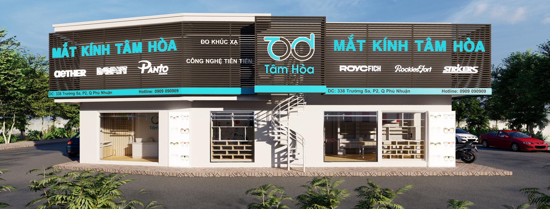 Thiết kế nội thất cửa hàng mắt kính Tâm Hòa