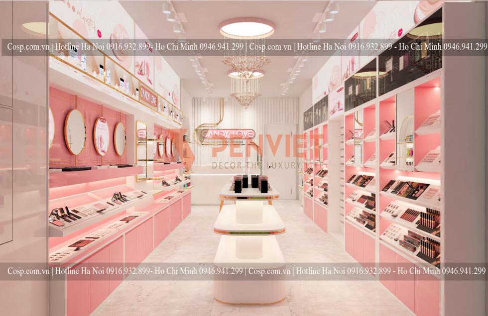Thiết kế shop mỹ phẩm màu hồng Candy love