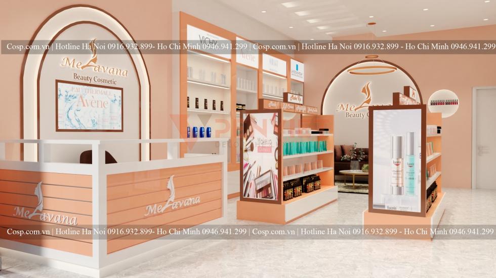 Màu cam được các kiến trúc sư Penviet chinh phục hoàn toàn trong thiết kế shop mỹ phẩm