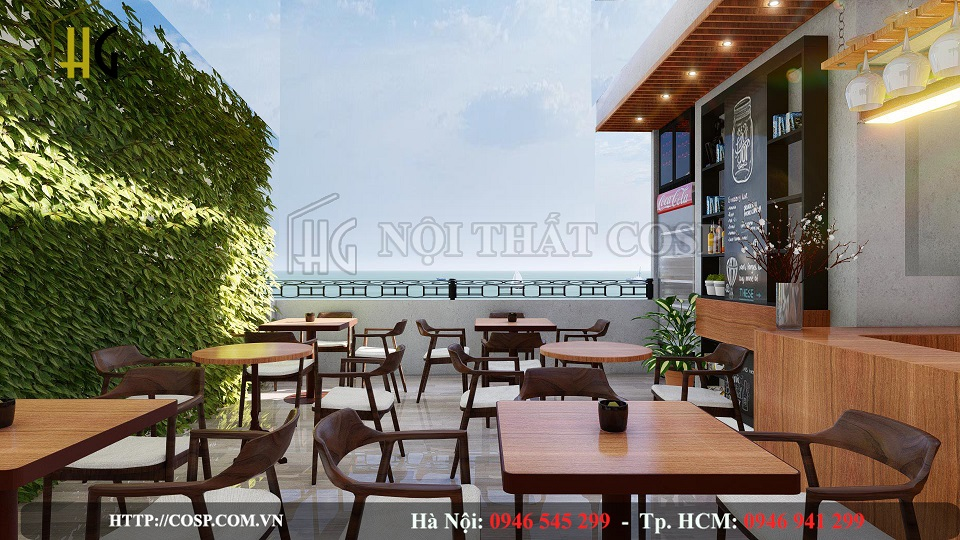 Thiết kế quán cafe ngoài trời ấn tượng