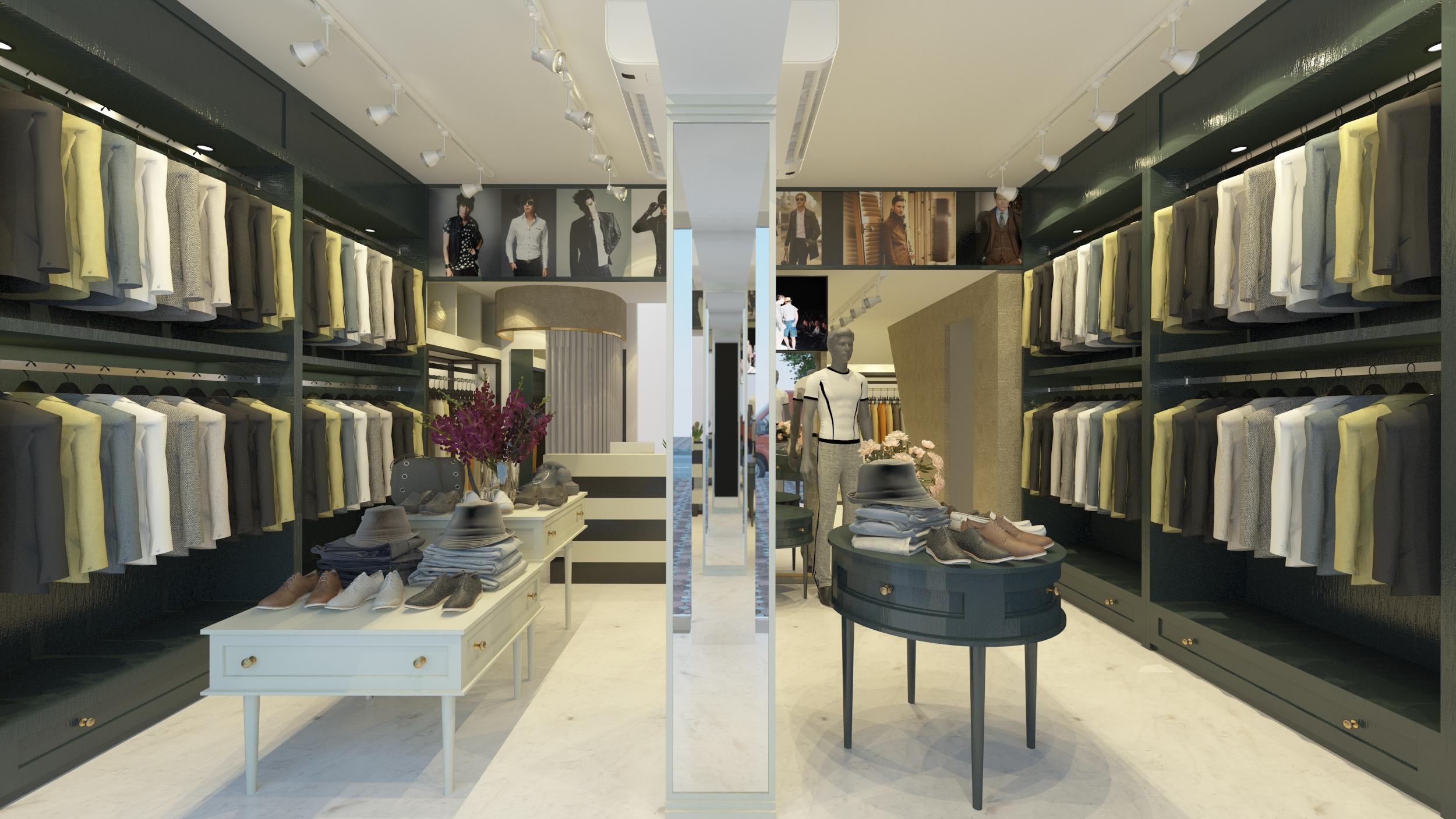Thiết kế cửa hàng quần áo nam cao cấp Anh Trung - Quán Thánh
