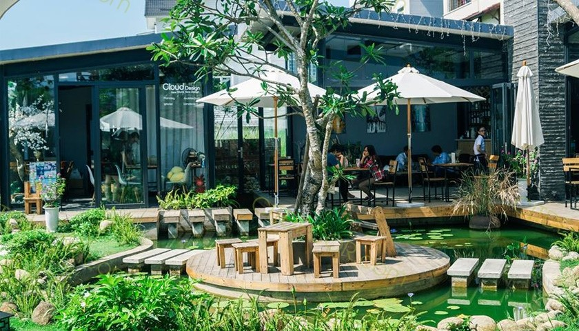 Không gian quán trà sữa sân vườn