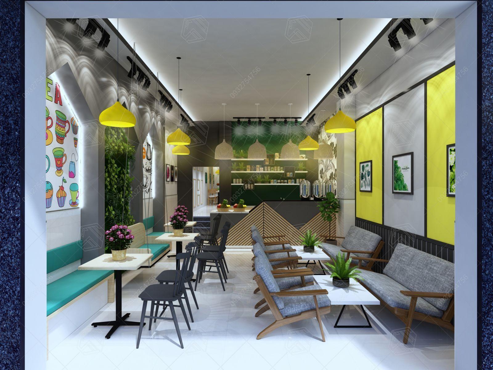 Màu vàng tạo nên sự đa dạng về phong cách thiết kế quán trà sữa
