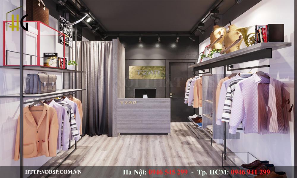 Mẫu thiết kế shop quần áo thời trang đơn giản, diện tích nhỏ