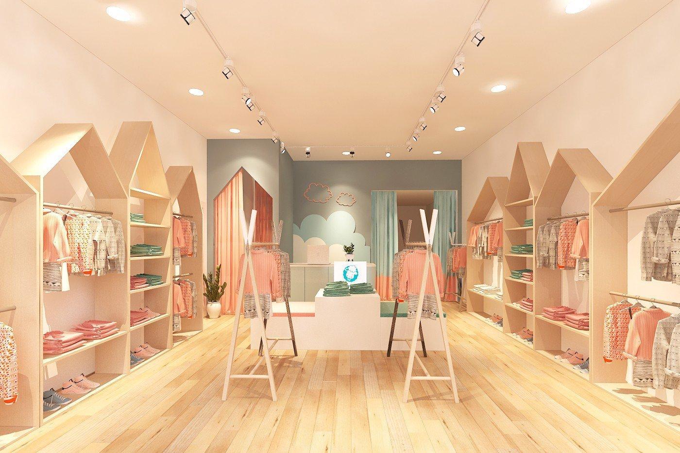 Ý tưởng thiết kế shop thời trang cho bé ngọt ngào, dễ thương