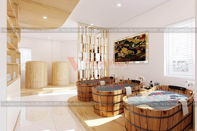 Gỗ tự nhiên là loại lựa chọn tốt cho thiết kế bồn tắm, bồn xông hơi tại các spa