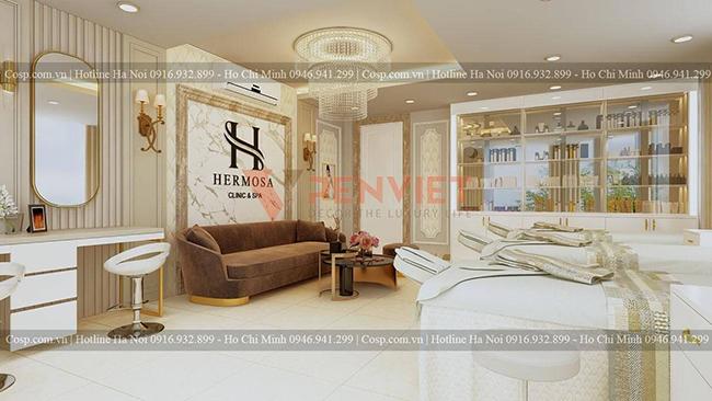 Thiết kế nội thất spa tinh tế với vật liệu kim loại
