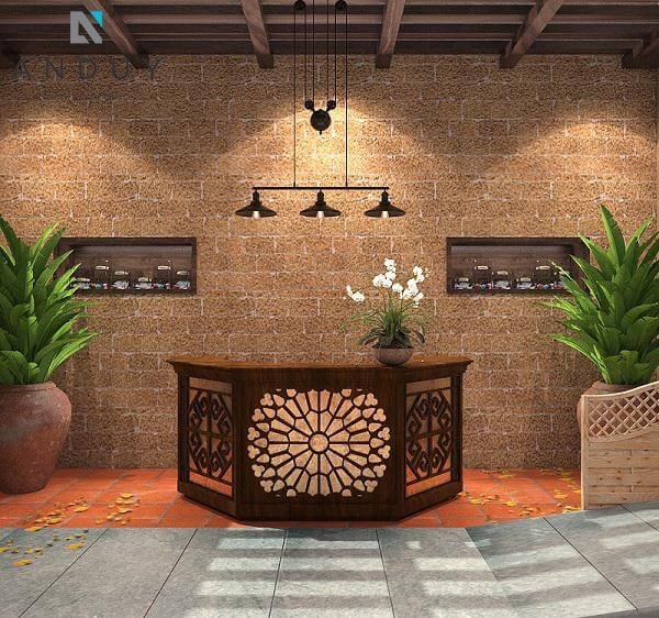 Thiết kế spa giá rẻ phong cách mộc sử dụng các loại vật liệu tự nhiên như gỗ, đá