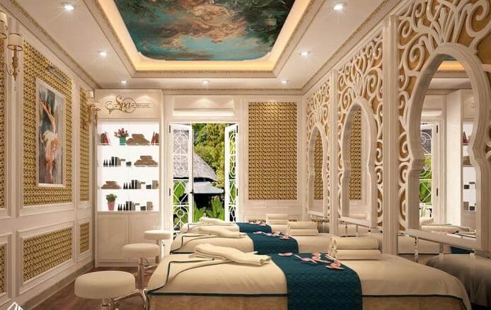 Đường nét thiết kế cầu kỳ, bắt mắt tạo nên nội thất spa đẹp