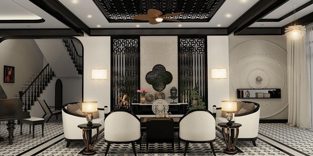 Thiết kế spa phong cách Indochine sử dụng những gam màu trung tính như vàng, trắng, nâu