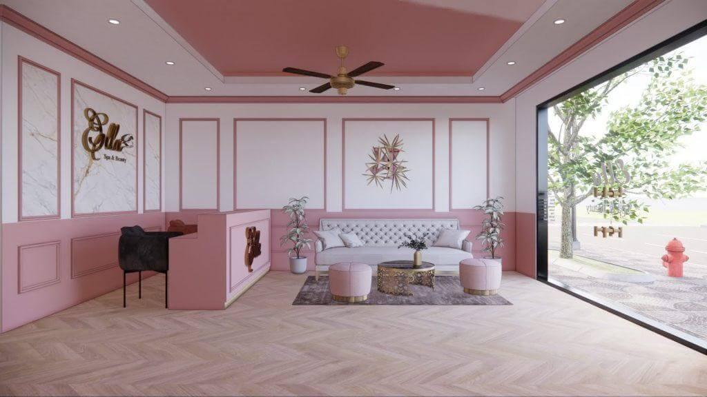 Thiết kế spa màu hồng sang chảnh