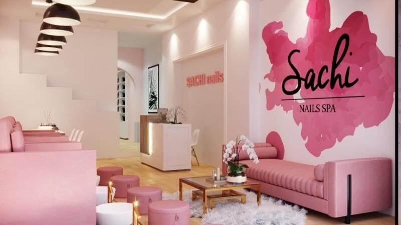 Thiết kế nội thất spa màu hồng bay bổng, ngọt ngào